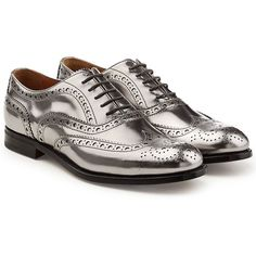 Church's Metallic Leather Brogues ($569) ❤ liked on Polyvore featuring shoes, oxfords, silver, metallic leather shoes, balmoral oxfords, metallic oxfords, leather lace up shoes and church's brogues