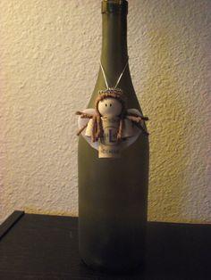 wine cork angel brown hair / bottle decoration by AvilaRoseGarden