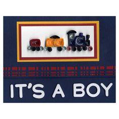 NL Quilled Train Baby Boy Card