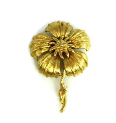 Vintage Monet Large Floral Brooch Gold Tone by TheFashionDen
