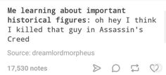 "Or I go ""Yeah, I met him, kind of a chill dude. Made me kill a few people who were bothering his friends"", which is, like. just slightly to the left from this. Assassins Creed Jacob, Assassins Creed Memes, Assassin's Creed Videos, My Love, Anime Rules, Bioshock Infinite, Jessica Nigri, Princess Mononoke, Gurren Lagann"