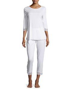 Valencia Crop Pajama Set, Women's, Size: S, White - Hanro