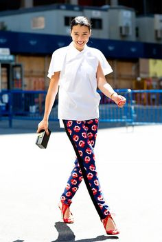 Rule 9: If you want to wear a bold piece like printed pants, balance it with polished items, like a crisp white blouse.
