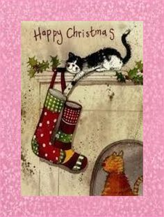 """Happy Christmas"" by by Alex Clark Cat Christmas Cards, Charity Christmas Cards, Christmas Card Packs, Christmas Scenes, Merry Little Christmas, Christmas Animals, Vintage Christmas Cards, Christmas Pictures, Xmas Cards"