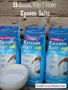 15 Reasons Why I Store Epsom Saltshttp://www.foodstoragemoms.com/epsom-salts/