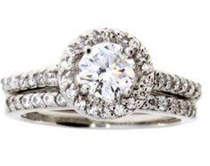 Cubic zirconium engagement ring set  sterling silver