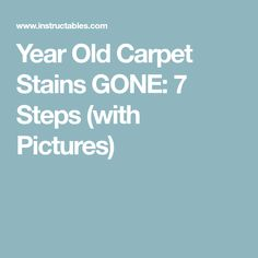 Year Old Carpet Stains GONE: 7 Steps (with Pictures)
