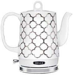 BELLA Liter Electric Ceramic Tea Kettle with Detachable Base & Boil Dry Protection, Silver Tile. THOUGHTFUL DESIGN: Boil water faster than a microwave and safer than a stovetop with one flip of a switch! Specialty Appliances, Small Appliances, Kitchen Appliances, Kitchen Gadgets, Cord Storage, Thing 1, Tile Patterns, Cool Kitchens, Farmhouse Kitchens