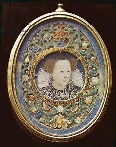 Portrait miniature. Mary Stuart (1542-1587), by Nicholas Hilliard (1547-1619), English.