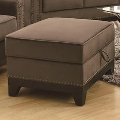 Mason Small Velvet Storage Ottoman w/ Exposed Wood-503734-$1517