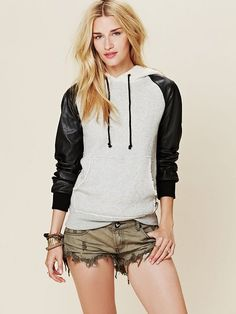 Free People Gray Vegan Leather Hoodie