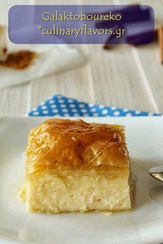 Galaktoboureko- Semolina, Milk cooked and layerd with Phyllo- greek dessert.