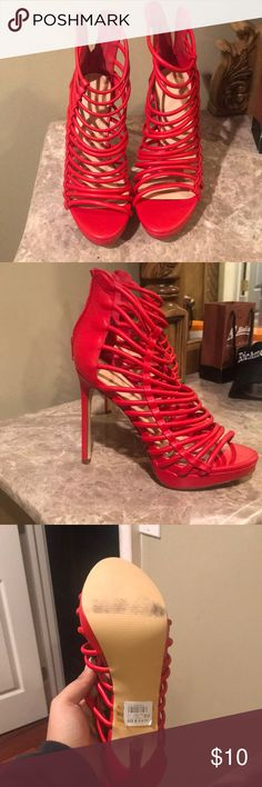 Super Cute Red Heels! Worn only one time to fit an outfit! Super Fun to wear! Charlotte Russe Shoes Heels