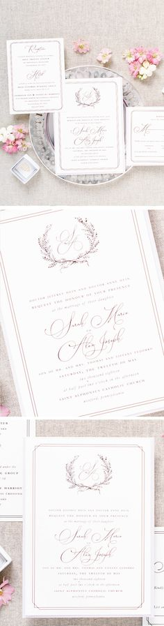 blush wedding invitations Ready to give guests an exciting glimpse into your spring wedding or summer wedding A gorgeous wedding monogram makes an impression and looks lovely on your wedding invitation Classic Wedding Invitations, Wedding Stationary, Wedding Etiquette, Wedding Vendors, Dusty Blue Weddings, Monogram Wedding, Romantic Weddings, Stationery, Palette