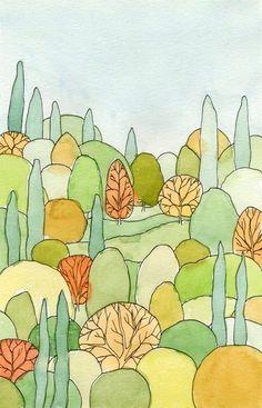 Perfect Landscape Art Postcard of watercolor painting Watercolor Postcard, Postcard Art, Watercolor And Ink, Watercolor Paintings, Watercolor Trees, Portrait Paintings, Acrylic Paintings, Watercolours, Art Paintings