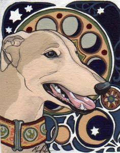 Etsy :: Art Nouveau Dog Miniature Painting (Greyhound) - Original from etsy.com