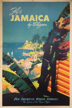 Fly to Jamaica by Clipper | Kiki Werth Original Vintage Posters