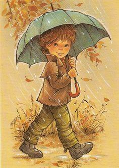 This is sooo cute! Walking In The Rain, Singing In The Rain, Sarah Key, I Love Rain, Rain Art, Holly Hobbie, Cute Illustration, Fabric Painting, Rainy Days