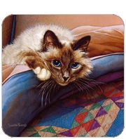 Birman Cat on Bed by Sueellen Ross
