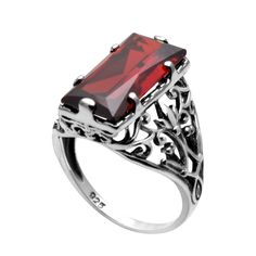 Szjinao Jewelry Victoria 925 Sterling Silver Jewelry Created Garnet 925 Sterling Silver Rings for Women Wedding Rings Free Box