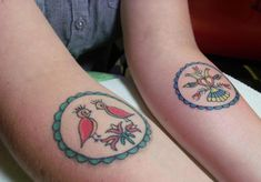 lacihesstattoos:  (Double) Double Distelfink - PA Dutch Hex Sign tattoos….  Awesome!