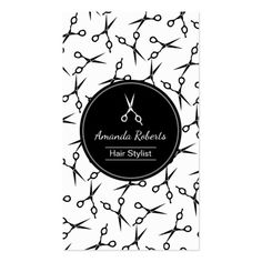 Hair Stylist Modern Scissor Pattern Appointment Business Card