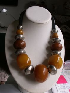 Chunky African amber and Tuareg silver beads by beadartaustria