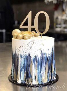 Gold Birthday Cake Cake Birthday Cakes For Men Rustic Birthday Cake Buttercream Cake Designs Buttercream Cake Decorating Buttercream Birthday Cake Rose Gold Cakes Blue Cakes Birthday Cakes For Men, 40th Birthday Parties, Cake Birthday, Birthday Cake Design, Simple Birthday Cakes, Rustic Birthday Cake, Birthday Ideas, Beautiful Birthday Cakes, Beautiful Cakes
