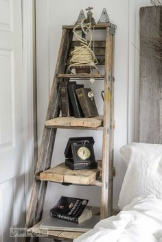 To add a bedside storage table and shelf in a tight space, Donna, of Funky Junk . To add a bedside storage table and shelf in a tight space, Donna, of Funky Junk Interiors beefed up an old ladder with salvaged boards for shelves and wall supports. Vintage Home Decor, Rustic Decor, Farmhouse Decor, Farmhouse Shutters, Red Farmhouse, Country Decor, Modern Farmhouse, Rustic Furniture, Diy Furniture