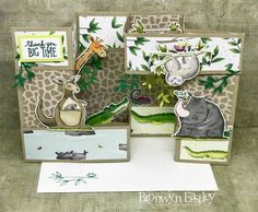 Bonus Supplies List for Animal Outing, Double Pop-Up, Gate Fold, Box Card Tri Fold Cards, Fancy Fold Cards, Folded Cards, Kids Cards, Baby Cards, Box Cards Tutorial, Pop Up Art, Useful Origami, Kids Birthday Cards