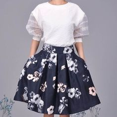 Fresh 2Pcs Sheer White Top Floral Print Bubble Skirt