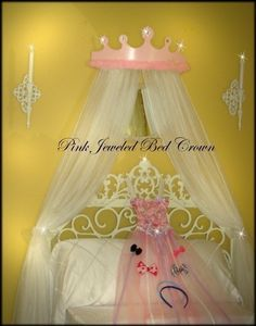 Princess Bed Canopy Pastel Pink Jeweled by VanLeskaWoodCrafters, $52.99