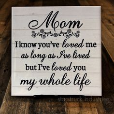 Mom Plaque Mothers Day Gift Idea Gift for Mom I know you've loved me as long as I've lived but I've loved you my whole life - gift from kids