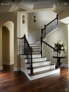 Craftsman Staircase With High Ceiling Wainscotting Chair
