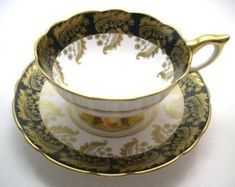 Antique Royal Stafford Black and Gold Tea Cup & Saucer, Royal Stafford tea cup and saucer, English Fine Bone China. by AntiqueAndCrafts on Etsy Tea Pot Set, Cup And Saucer Set, Tea Cup Saucer, Tea Sets, Vintage Cups, Vintage Tea, Vintage China, English Tea Cups, Teapots And Cups