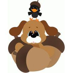 Silhouette Design Store - View Design #66562: fall dog w acorns & crow
