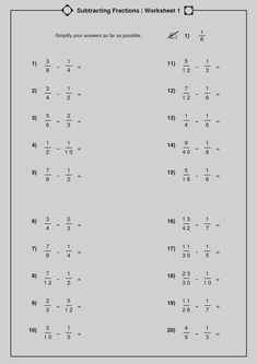 The Multiplying and Dividing Fractions (A) math worksheet