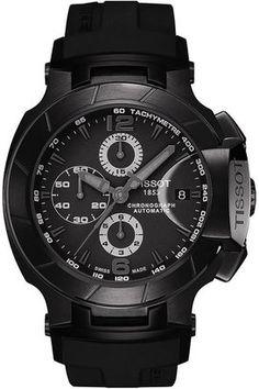 Tissot #Watch, Men's Swiss Automatic Chronograph T-Race Black Rubber Strap T0484273705700