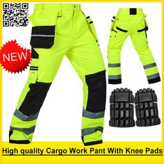 Bauskydd High visibility Mens multi-pocket fluorescent yellow safety reflective  cargo work trousers working pant free shipping