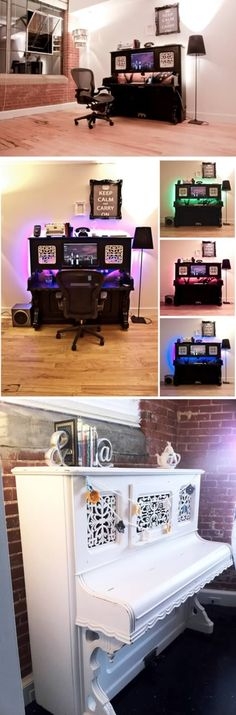 color changing back lit work space! Coolness!  ...from 10 Coolest Home Offices - Oddee.com