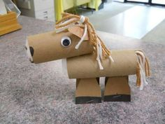 60 Homemade Animal Themed Toilet Paper Roll Crafts Kids love nature and enjoy creating artistic representations of animal life. Farm Animal Crafts, Horse Crafts, Camping Crafts, Fun Crafts, Crafts For Kids, Toilet Roll Art, Paper Towel Rolls, Toilet Paper Roll Crafts, Le Far West