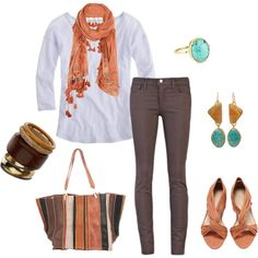 coral, brown & turquoise