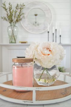 Strawberry Summer Patch Candle via BHG Live Better influencer Fox Hollow Cottage. #candle #candleideas #summercandle #soywax #fragrance #essentialoils #aromatherapy #livingroom #familyroom #bedroom #homdecor