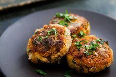 Absolutely delicious shrimp cakes.  Cooked shrimp, formed into patties with cooked sweet potatoes, garlic, red onion, breadcrumbs, jalapeno, cilantro, and spices, then fried.