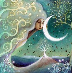 Amanda Clark artist and Illustrator. by earthangelsarts Clark Art, Illustration, Moon Goddess, Goddess Pagan, Angel Art, Moon Art, Moon Child, Stars And Moon, Sun Moon