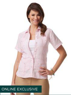 100% Linen Ladies Short Sleeve Guayabera www.Cubavera.com