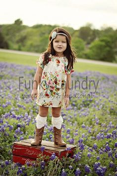 Girls Clothing. Love the dress  Idea- Box in field ( flowers?) standing or sitting