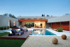 Backyard space with a modern pool and minimalist style