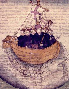 literatuurgeschiedenis.nl | de middeleeuwen - de reis van Sint Brandaan, Ierse monnik. het is mogelijk dat hij Amerika heeft bereikt, maar het is vooral een mooi verhaal