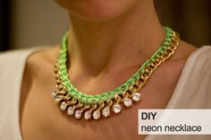 diy-neon-rope-necklace-diy-woven-gold-chain-necklace - use any color any metal - play with this and have fun creating new looks!